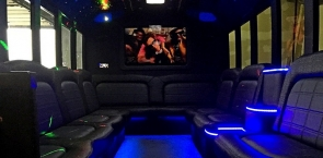 Sit back and relax in our stylish limo bus