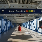 Airport transit sign pointing to terminal 2, 3, 5 and parking at O'Hare Airport in Chicago, IL