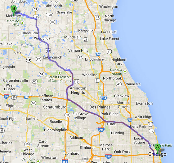 chicago-limo-to-mchenry-il-map