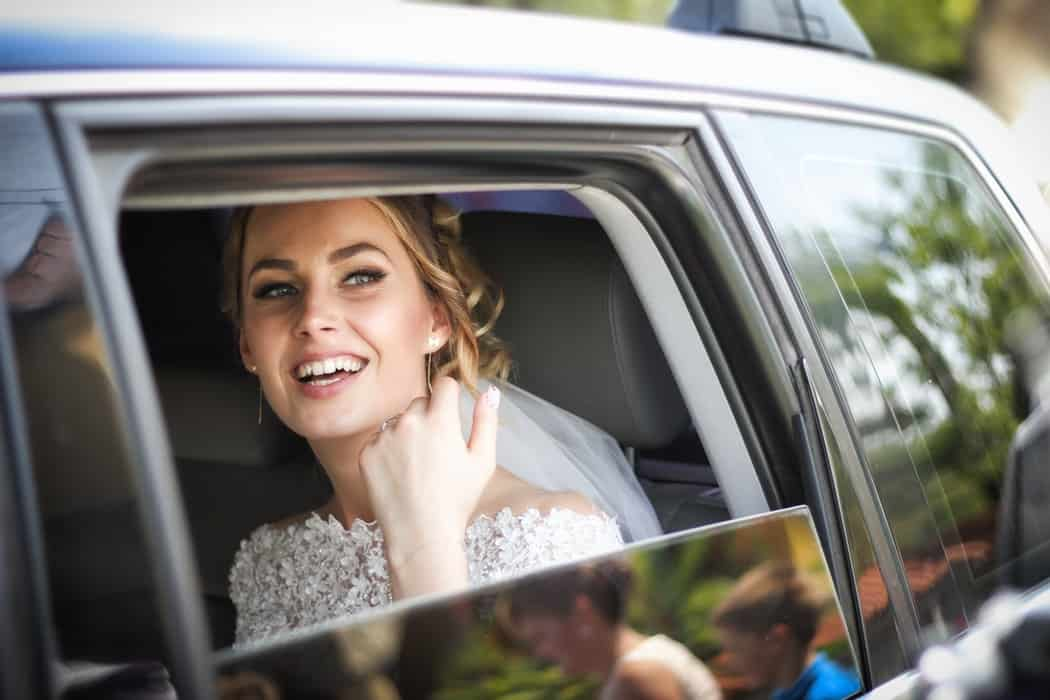 A bride in a limo
